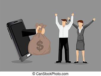 Business Success with Modern Technology Cartoon Vector Illustration