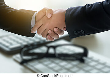 Business Successful handshake and business people Meeting and greeting concept