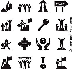 Business successful icons set Vector illustration