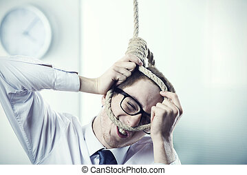 Business Suicide - A office worker is setting up a noose