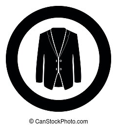 Business suit black icon in circle vector illustration isolated .