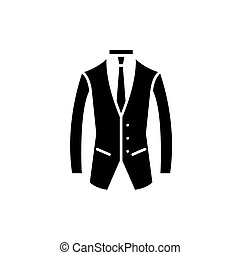 Business suit black icon, vector sign on isolated background. Business suit concept symbol, illustration