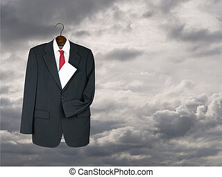 Business suit hung up with envelope - will, inheritance...