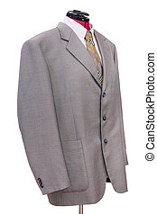 pink woolen jacket with shirt and tie isolated - business ...