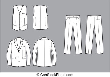 Vector illustration of men's business suit. Jacket, pants, waistcoat. Front and back views