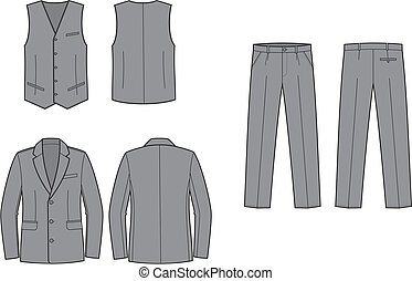 Vector illustration of women's business suit. Waistcoat, pants, jacket. Front and back views