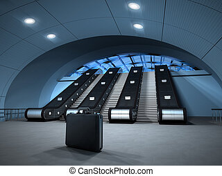 Business suitcase besides escalator - Isolated business...