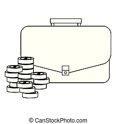 business suitcase coins stacked