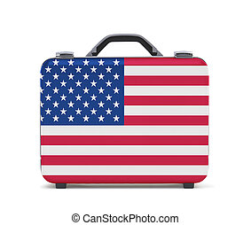 Business suitcase for travel with flag of USA