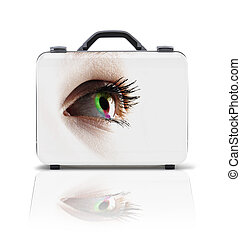 Business suitcase for travel with reflection and female eye