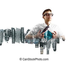 Business super hero double exposure - Business superhero...
