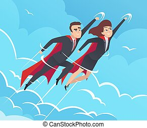 Business superheroes background. Male in action poses powerful teamwork heroes flying in sky vector business pictures