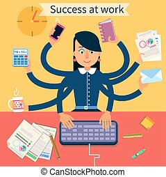 Business Superwoman Banner. Woman with Many Hands Doing a Lot of Things at work
