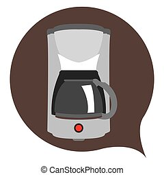 Isolated coffee maker on a brown sticker, Vector illustration