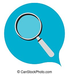 Isolated magnifying glass on a blue background, Vector illustration