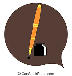 Isolated pen on a brown sticker, Vector illustration