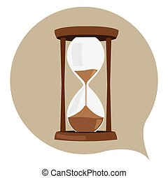 Isolated sand clock on a colored sticker, Vector illustration