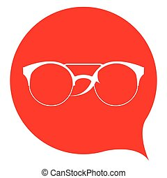 Isolated silhouette of a glasses on a red sticker, Vector illustration