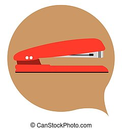 Isolated stapler on a colored sticker, Vector illustration