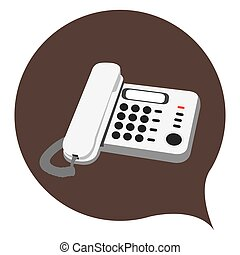 Isolated telephone on a brown sticker, Vector illustration