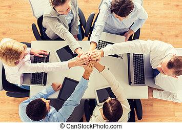 business, surmontez, mains, équipe, fin
