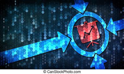 business, symbole, -, flipchart, arrière-plan., numérique, concept: