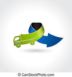 business, symbole, livraison, vecteur, camion, icône flèche, transport
