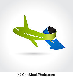 business, symbole, livraison, vecteur, icône flèche, avion, transport