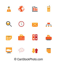 Business symbols in orange tones - Various business icons in...
