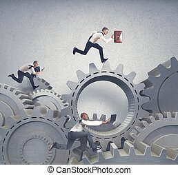 Business system with running businessman and competition concept