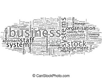 Business systems what are they text background wordcloud concept