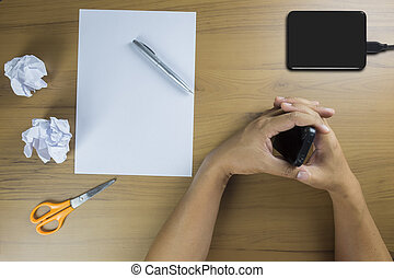 business, téléphone portable, intelligent, table, utilisation, bois, homme