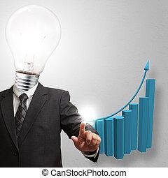 business, tête, homme, ampoule, lumière