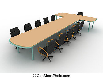 Clip Art Of Business Table Empty Conference Room With Table And - Conference room table and chairs clip art