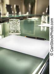 table in empty office