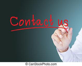 business, tableau noir, nous, contact, dessin, homme