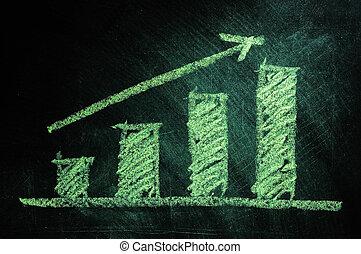 business, tableau noir, projection, diagramme, augmentation ventes