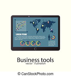 Business tablet vector illustration isolated.