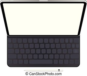 Business Tablet with keyboard and pencil vector eps 10