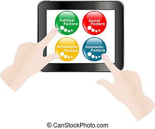 business, tablette, facteurs, écran, pc, toucher, doigt, numérique