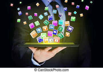 business, tablette, icônes, mobile, écran, pc, virtuel, applications, tenue, internet, homme affaires, concept.