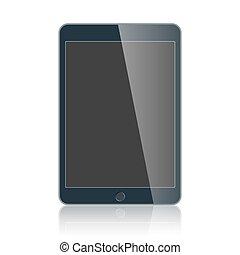 business, tablette, isolé, vecteur, arrière-plan noir, blanc