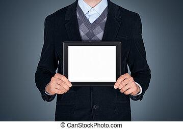 business, tablette, projection, vide, personne, numérique