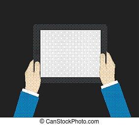 business, tablette, tient, informatique, tenue, homme