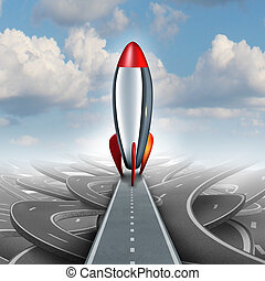Business Take Off - Business take off concept with a rocket...