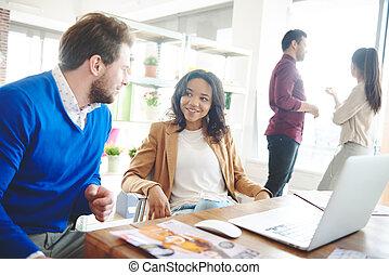 Business talks at modern office