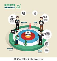 Business target board game concept infographic step to...