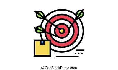 business target animated color icon. business target sign. isolated on white background