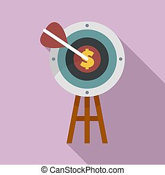 Business target icon, flat style