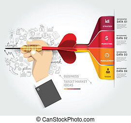 Business target marketing concept. Businessman hand with...